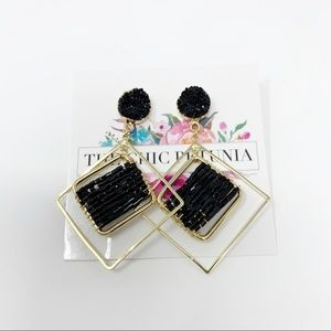 3 for $30! Beaded Black and Gold Earrings